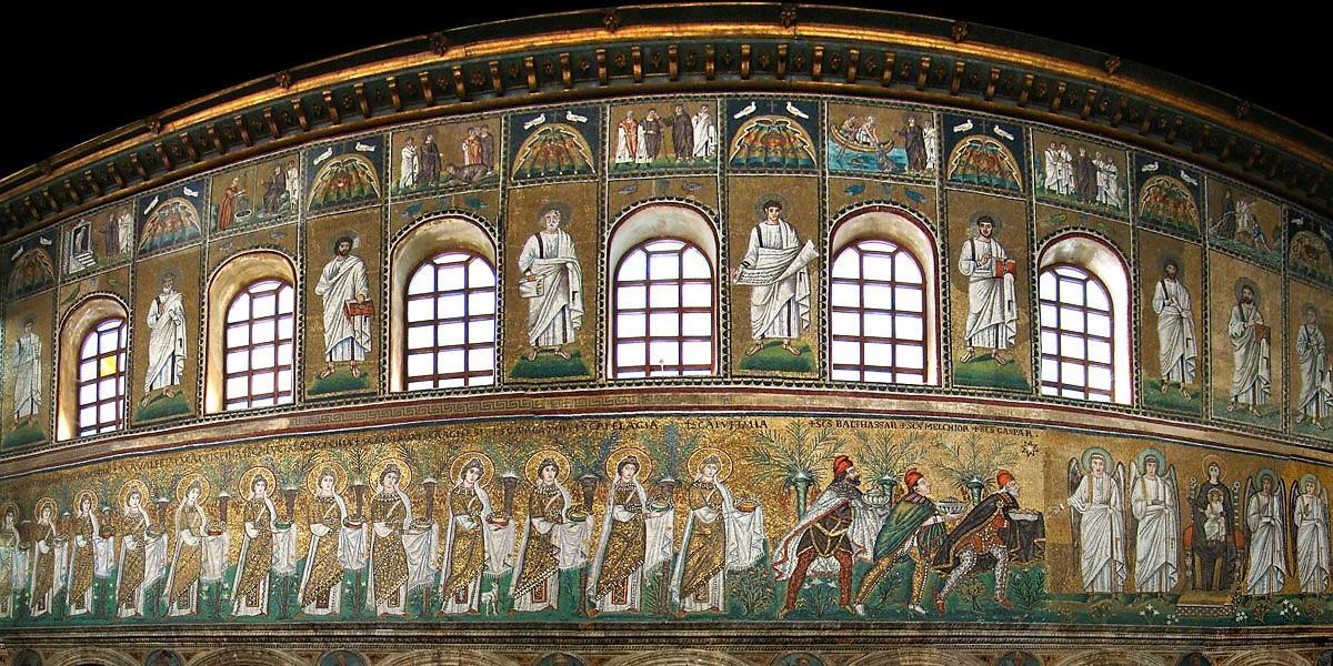 Uno dei mosaici della Basilica di Sant'Apollinare Nuovo. (wikimedia Commons)