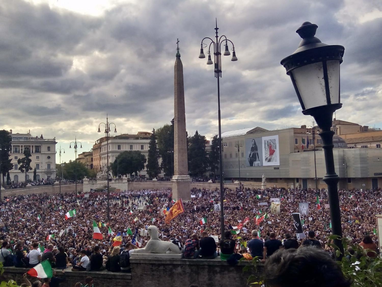 Manifestazione a Piazza del Popolo